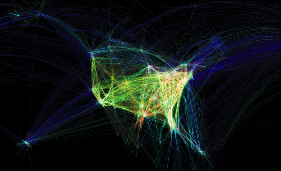 aaron koblin data visualization north american airplane traffic