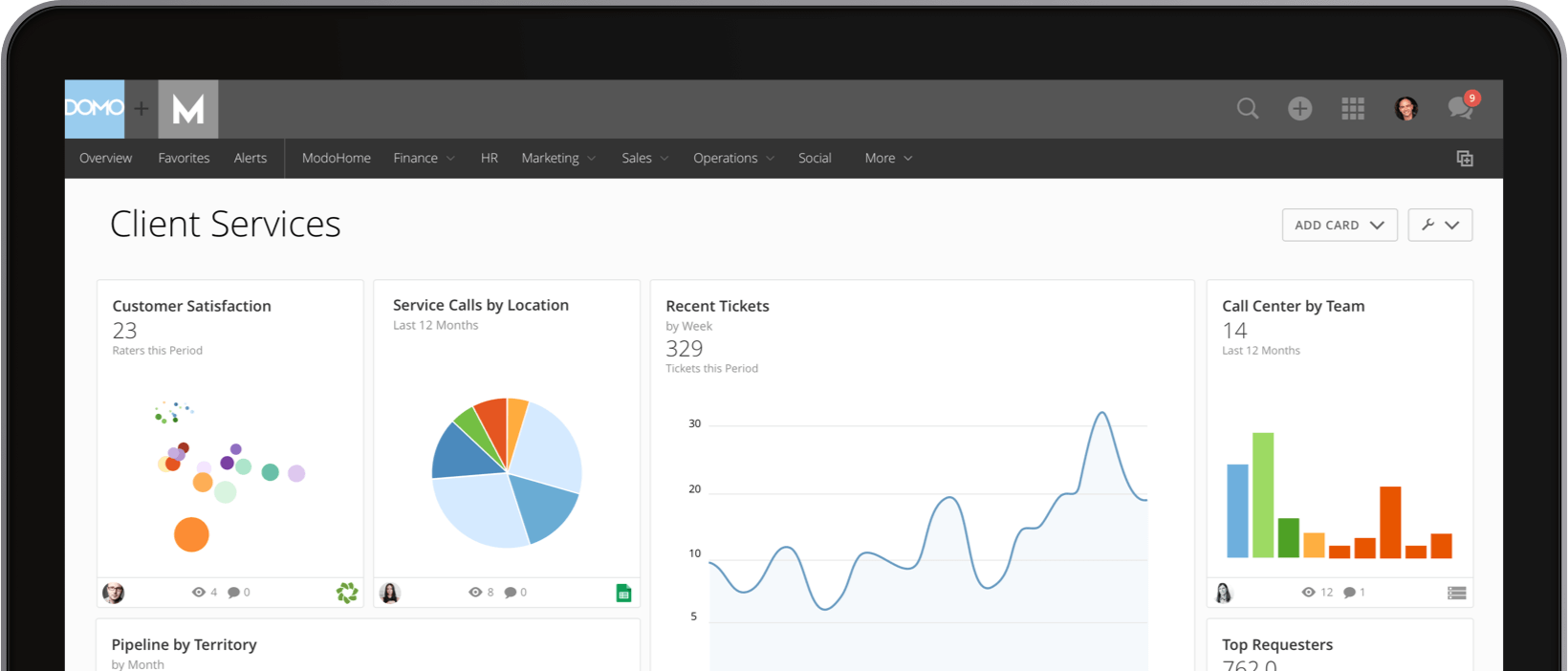 Client Services Executive Dashboard Reporting Domo Domo - Customer dashboard template