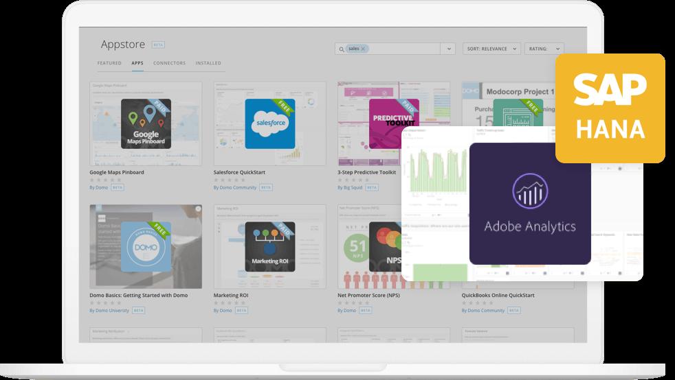 Domo Feature - Appstore sales Adobe SAP quickstart connector
