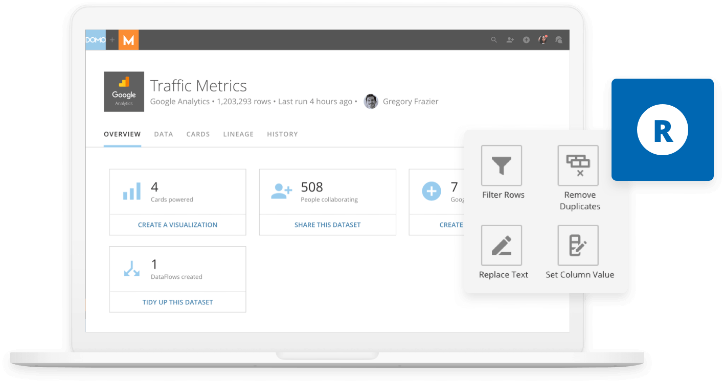 Domo dashboard showing traffic metrics with R